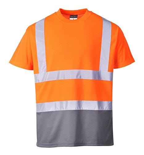 Portwest s378ogyxl maglietta manica corta alta visibilità, arancio/grigio, xl