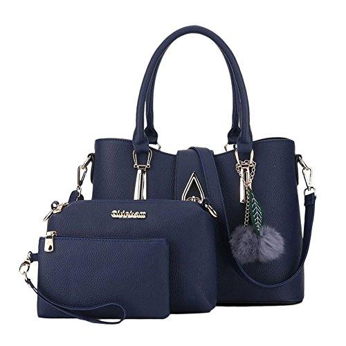 Donna Classic Handbag Set Shoulder Crossbody Bag with Pompom 3 set Rose Rose Blu