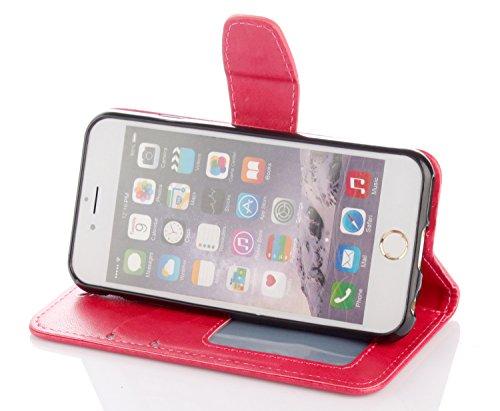 Case pour la Apple iPhone 6 Plus (5.5 pouces) Coque,Campanula plume Étui en PU Cuir Phone Case Cover Couverture Fonction Support avec Fermeture Aimantée de Feuille Motif Imprimé+Bouchons de poussière  6