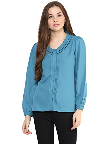 The Vanca Women's Teal Color Shirt With Bishop Sleeves And Pintuck Detailing Alongside Placket