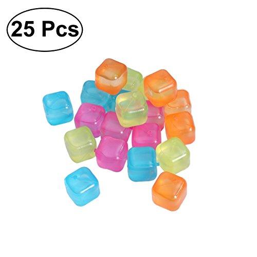 Bestonzon 20 Stckpack Kunststoff Wiederverwendbare Farbige Party Eiswrfel Getrnk Khler Zufllige Farbe