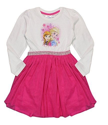 Disney Frozen Mädchen Kleid Weiß und Fuchsien - Weiß, 128cm, 7-8 years (Disney Frozen Kleider)