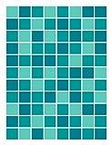 FoLIESEN Fliesenaufkleber für Bad und Küche - 15x20 cm - Mosaik türkis-mint - 16 Fliesensticker für Wandfliesen