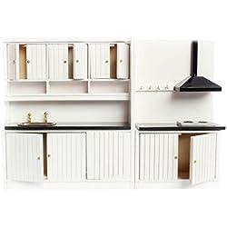 Combinaison d'Armoire en Bois Mobilier de Cuisine Miniature pour 1/12 Maison de Poupée