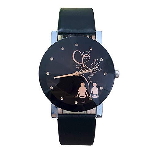 Bestow Reloj de Cuarzo de la Correa de Cristal de la Aguja de la Moda de Pareja de la Moda de la Correa de Cristal de Spire(negroA)