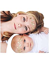 2PCs Mother Daughter Fabric Leaves Headband Set | New Mom and Newborn Gold Leaf Headband Set