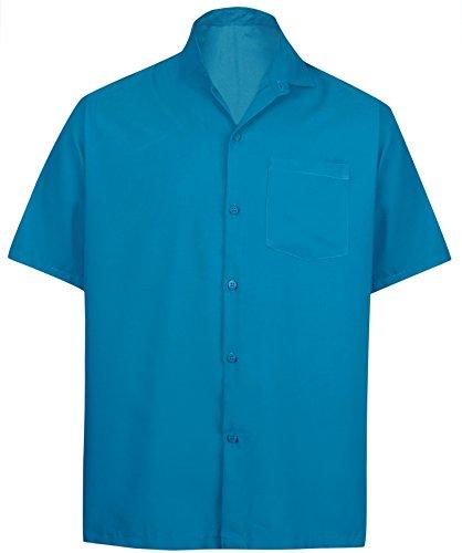 *La Leela* Shirt Camicia Hawaiana Uomo XS - 5XL Manica Corta Hawaii Tasca-Frontale Stampa Hawaiano Casuale Regular Fit Blu OttanioPlain L