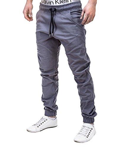 Betterstylz MasonBZ Chino Jogger Pantaloni Uomo Style Jogger Pant diff. colori (S-XXL) (M, Grigio)