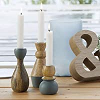 Set of 3 Natural Wooden Scandi Candle Holders Home Decor 10,14 and 15cm tall