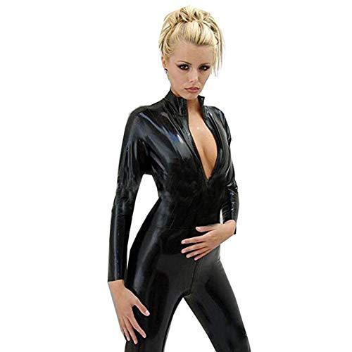 MMZX Frauen Sexy Bodysuit Erotik Kunstleder Latex Catsuit Cosplay Frontreißverschluss Crotch Overall