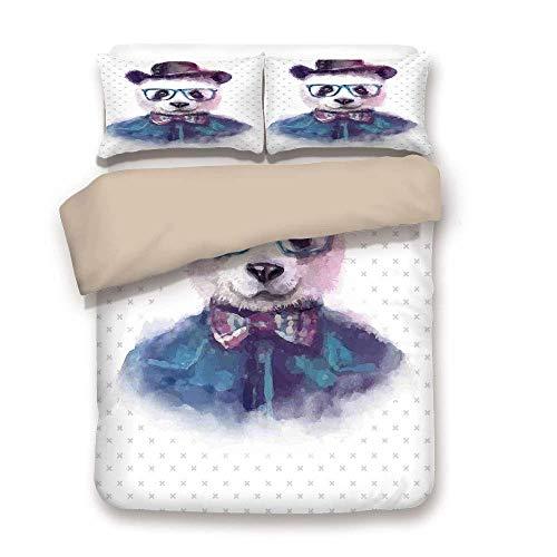 Soefipok Bettbezug-Set, lustig, Vintage Hipster Panda mit Fliege Dickie Hut Horn umrandeten Brille Aquarell-Stil, schwarz blau, dekorative 3 Stück Bettwäsche Set von 2 Kissen Shams Full/Queen-Size