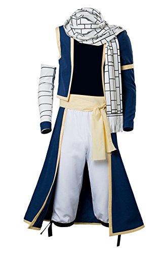 Fairy Tail Kostüm Natsu - Fairy Tail Natsu Dragneel Outfit Cosplay Kostüm Blau Herren S