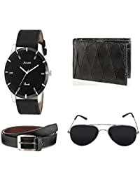 Arum Genuine Leather Men Accessories Combo | Men's Black Wallet with Analogue Watch, Belt & Sunglass - Combo Pack