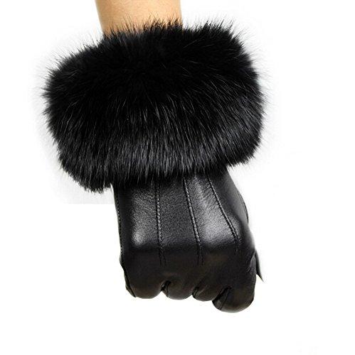 TUDUZ Damen Herbst Outdoor Lederhandschuhe Kaninchen-Pelz Handschuhe Schwarz