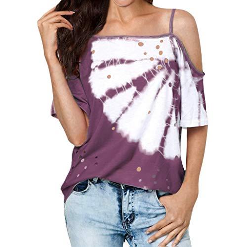 Kviklo Damen T-Shirt Tops Kalter Schultergurt Hohlloch Gebatikting Drucked Beach Daily Bluse(6(32),Violett) (Mädchen Doctor Kostüm Who)