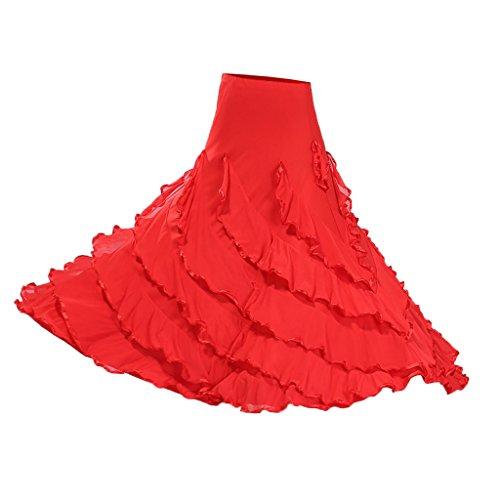 Flamenco Kostüm Damen - Sharplace Große Schaukel Damen Maxirock Tanzrock Tanzkleider Ballsaal Tanzen Lange Rock Flamenco Kleid Boho Hippie Walzer Tango Latein Kostüm - Stil 2 rot, wie beschrieben