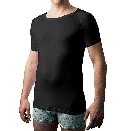 Drywear T-Shirt Rundhalsausschnitt gegen achselschweiss für Männer (Medium, Schwarz)