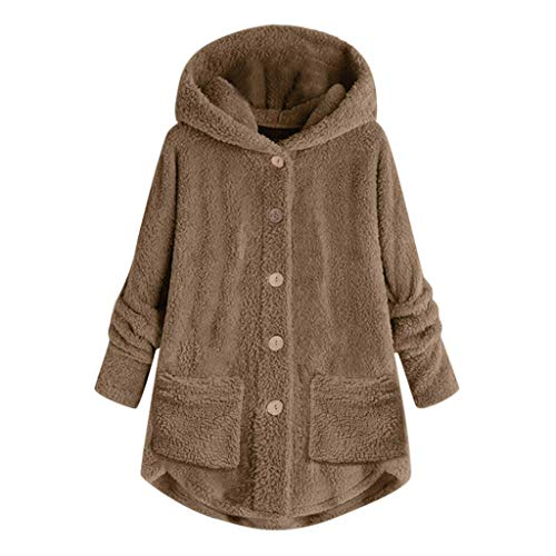 UFODB Plüschjacke Damen Jacke Vintage Kapuzenjacke Mit Kapuze Lose Casual Langarm Mantel Herbst Winter mit Button Pocket Bequem Warmen Outwear Parka Plus Size S-5XL