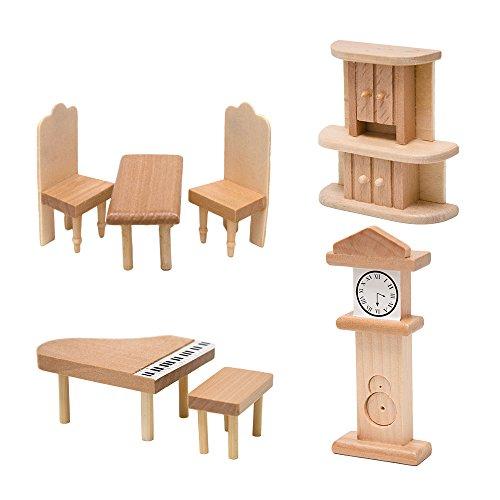 arredamento Soggiorno per casa delle bambole   set di 7 mobili in miniatura   di legno
