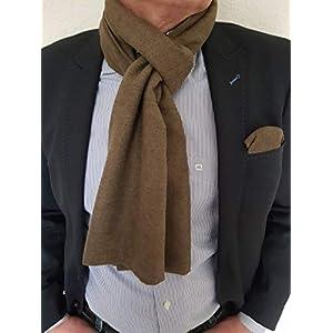 Exklusiver Herren Schal mit passendem Einstecktuch in Uni Braun Reine Wolle
