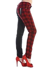 Banned rouge et noir Tartan Skinny Jeans