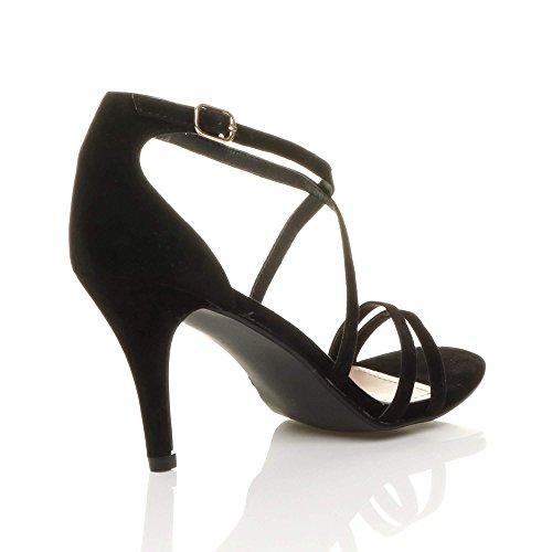 Donna tacco alto medio cinghietti incrociato matrimonio sera sandali taglia Scamosciata nera