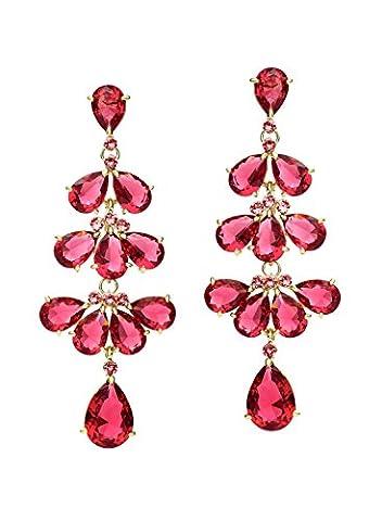 Neoglory Jewellery Zirkonia mit Swarovski® Elements Ohrringe rot