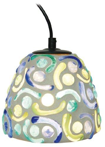 Naeve Leuchten Mosaik-Pendelleuchte / d: 16 cm / h: 19 cm / Glas / grün / blau 7000805