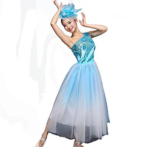 Byjia Jugend-Mode Pailletten Quadrat Regenschirm Tanzkleid Weiblichen Erwachsenen Big Rock Druck Moderne Chor Nation Klassische Bühne Aufführungen Kostüme Gruppen Team Outfit Blue S (Gruppe Weiblich Kostüme)