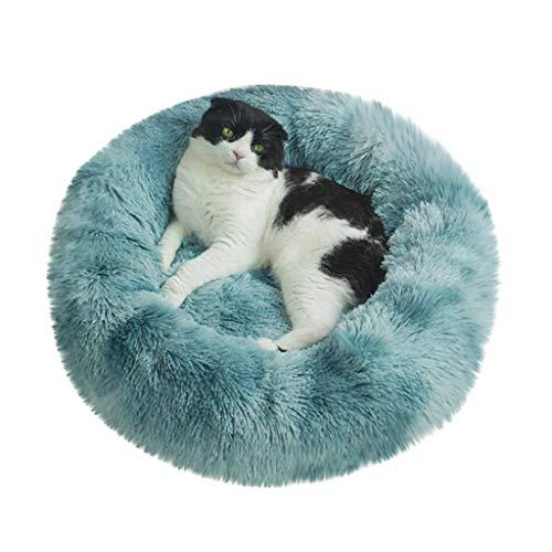 Smniao Hundebetten Plüsch Haustierbett Hundesofa Katzensofa Schlafplatz für Katzen Weicher Waschbar Katzenbett Hunde Mat (XL:Durchmesser 60cm, Blau)