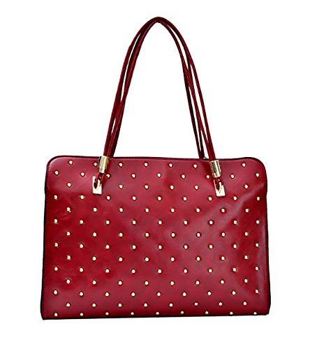 eyecatch-godiva-womens-faux-leather-studded-satchel-messenger-ladies-bag-red