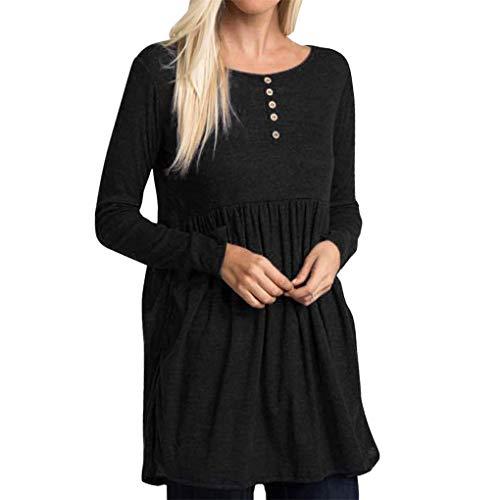 Dorical Freizeitkleider, Damen Mini Langes Shirt Lose Tunika T-Shirt Kleid,A-Linie Kleider Elegant MiniKleid mit Knopf,Ideal für Party und Oktoberfest Gr S-XXL(Schwarz,Medium)
