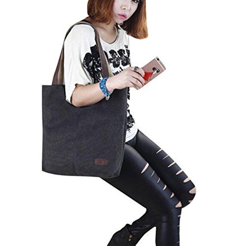 Butterme Frauen Damen lässige Vintage Leinwand Tagesgeldbeutel Top Handle Umhängetasche Tasche Shopper Handtasche Schwarz