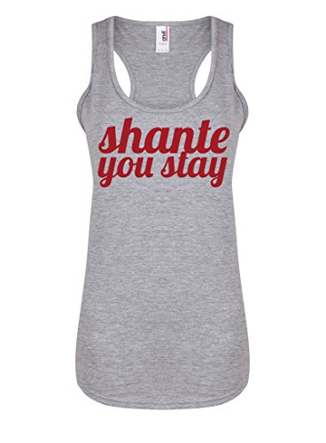 Womens Slogan Racerback Vest Top SHANTE You Stay Light Grey Medium with Red