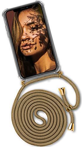 ONEFLOW® Handykette passend für iPhone X/iPhone XS | Stylische Kordel Kette - Kristallklare Handyhülle mit Band zum Umhängen in Gold Beige