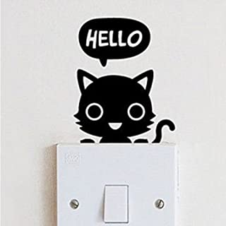 Ahaccw(TM) Cute Cat Vinyl Wall Swith Sticker for Children's Room Bedroom