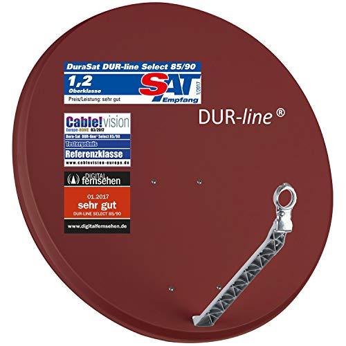 DUR-line Select 85/90cm Rot Satelliten-Schüssel - 3 x Test + Sehr gut + Aluminium Sat-Spiegel