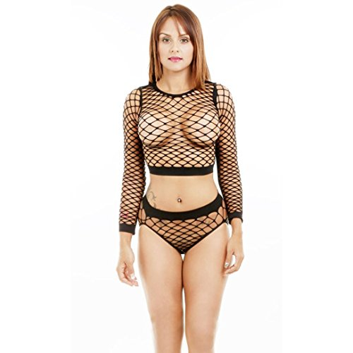 YunYoud 1Set Sexy Frau Unterwäsche Kescher Spitze Lingerie Einfarbig Perspektive Schlafanzug Ausgesetzt Nabel Tanktops + Unterhose (Freie Größe, Schwarz)