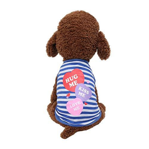 Sommer Haustierkleidung Hund Kleidung Katze Baumwolle T-Shirt Karikatur Gestreifte Weste Rock Kostüm Kleine Pet Sommerund atmungsaktive dünne Kleidung (Extra Kleine Pet Kostüme)