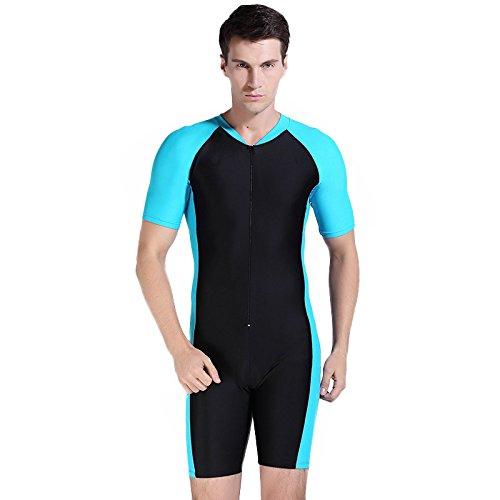 OUO Herren Blau UV Schutz Wetsuit Badeanzug Badebekleidung Wassersport Anzug Short, Gr.L