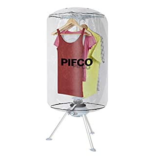Pifco P38003 Fast Drying Portable Heated Clothes Dryer, Suitable for All Fabrics, Quiet Motor, Collapsible Design, 1000 W, Transparent-White
