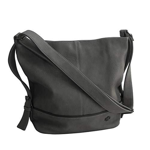 Jennifer Jones Moderne XL Handtasche Schultertasche Umhängetasche Shopperbag für Sport Freizeit Arbeit - präsentiert von ZMOKA in versch. Farben (Platingrau)