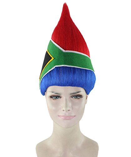 Bowie Kinder David Kostüm - THEHAIRDROBE South African National Flag-Abendkleid-Sport-Perücke HW-2318 (Kinder)
