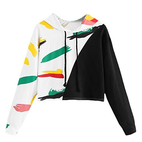 TWBB Pullover Hoodie Damen Herbst Winter Patchwork Drucken Sweatshirts Kapuzenpullover Kapuzenjacke Bluse