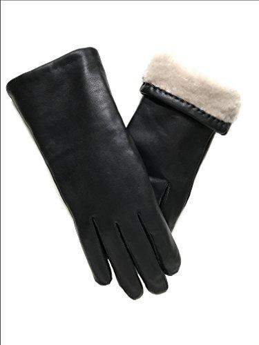Nappaleder Damen Handschuhe Lederhandschuhe mit Druckknopf gefüttert  S M L Handschuhe Bekleidung