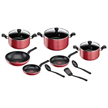 TEFAL Super Cook Non Stick w/Thermo-spot 12 PCS Cooking Set Red B243SC85