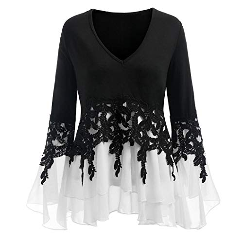 iHENGH Damen Tops, Women Frühling Sommer Fashion Casual Applique Flowy Chiffon V-Neck Long Sleeve Bluse Tops T-Shirt (Für Pin-up-girl-outfits Halloween)
