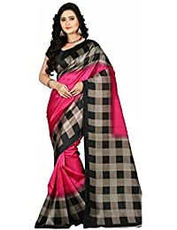 Roop Craft Women's Art Mysore Checks Printed Silk Saree(Checks_RCS_238_Pink)