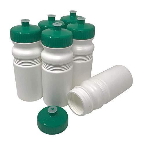 aschen, 567 ml, für Sport und Fitness, BPA-frei, HDPE-Kunststoff, Bulk, 6 Stück, White Bottle - Green Lid, 20 Ounces (63mm Lid) ()