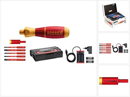 Wiha speedE® elektronischer Schraubendreher - Set 1 in L-Box - 10-teilig mit 2x 1,5 Ah Akku und Ladegerät + Bits + Easy Torque Adapter 2,0 Nm (41911)